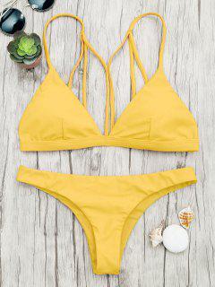 Gepolsterter Rücken Strappy Badeanzug - Gelb Xl
