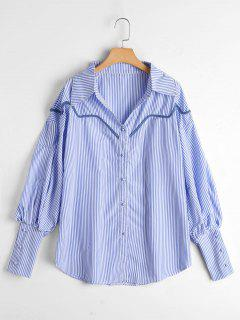 Chemise à Rayures Boutonnée Manches Bouffantes - Bleu Clair Xl