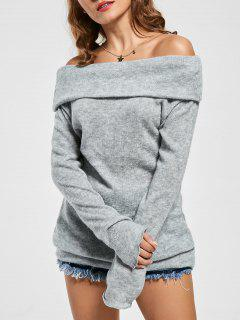 Knitted Off The Shoulder Sweater - Gray M