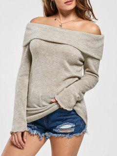 Knitted Off The Shoulder Sweater - Khaki L