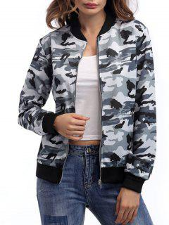 Zip Up Camouflage Jacke - Camouflage Grau S