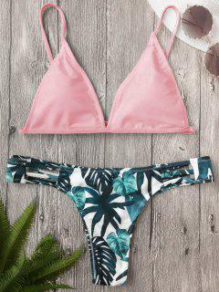 Cut Out Padded Leaf Print Bathing Suit - Pink M
