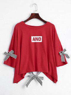 Camiseta De La Impresión De La Letra Del Hombro De La Gota - Rojo