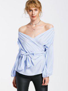 Stripes Crossed Front Off Shoulder Blouse - Light Blue M