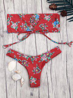 Schnürung Blumen Druck Bandeau Bikini Set - Rot M