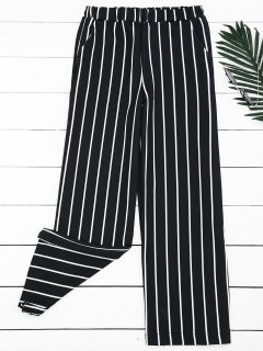 High Waisted Striped Wide Leg Pants - Stripe L