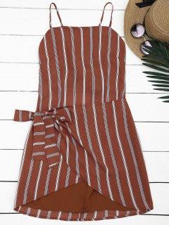 Mini Vestido Con Tirante Fino A Rayas Con Cierre De Nudo En Espalda - Raya L