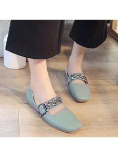 Rhinestone Buckle Strap Low Heel Flats - Green 39