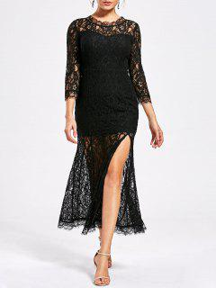 Sehen Sie Thru High Split Lace Party Dress - Schwarz 2xl