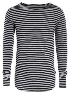 Striped Long Sleeve Mens Jersey Top - Black And Grey L