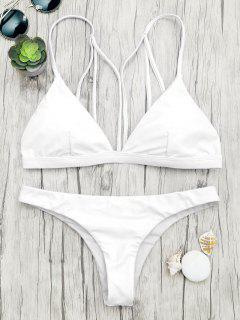 Padded Back Strappy Bathing Suit - White L