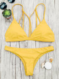 Padded Back Strappy Bathing Suit - Yellow L