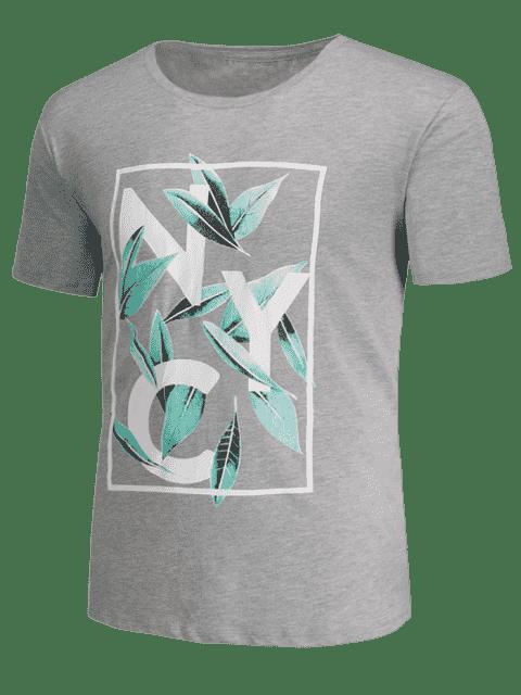 T-shirt imprimé feuille et graphique - Gris L Mobile