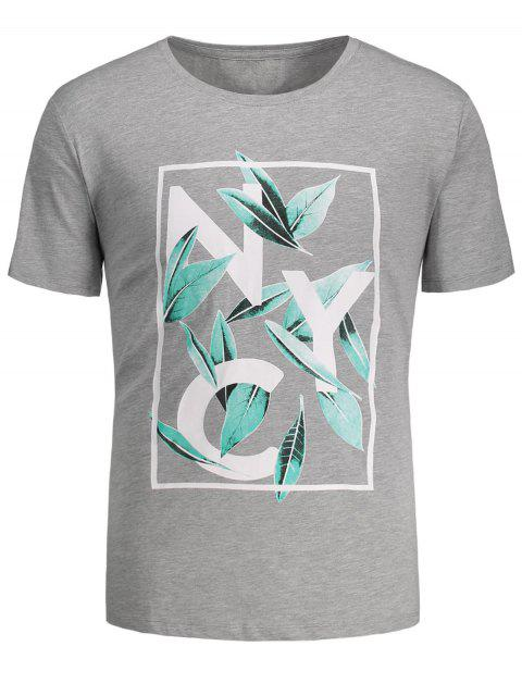 ladies Leaf Printed Graphic Tee - GRAY M Mobile