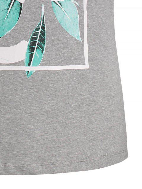 ladies Leaf Printed Graphic Tee - GRAY M Mobile
