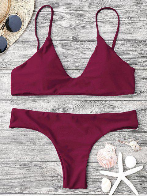 best Adjustable Straps Padded Bralette Bikini Set - BURGUNDY M Mobile