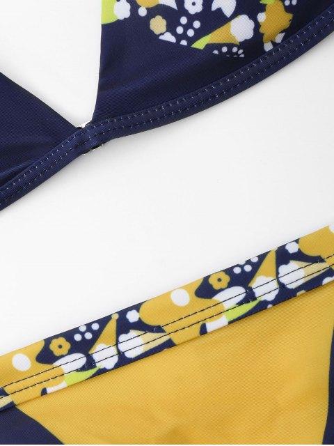 latest Floral Chevron Spaghetti Strap Bikini Set - BLUE AND YELLOW L Mobile
