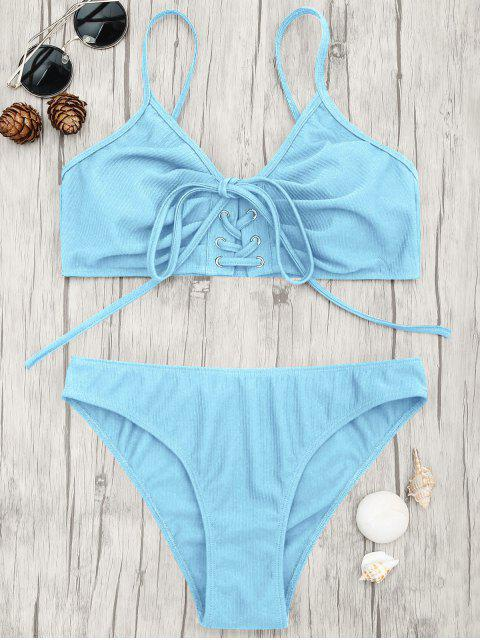 outfit Eyelets Lace Up Bralette Bikini Set - LIGHT BLUE S Mobile