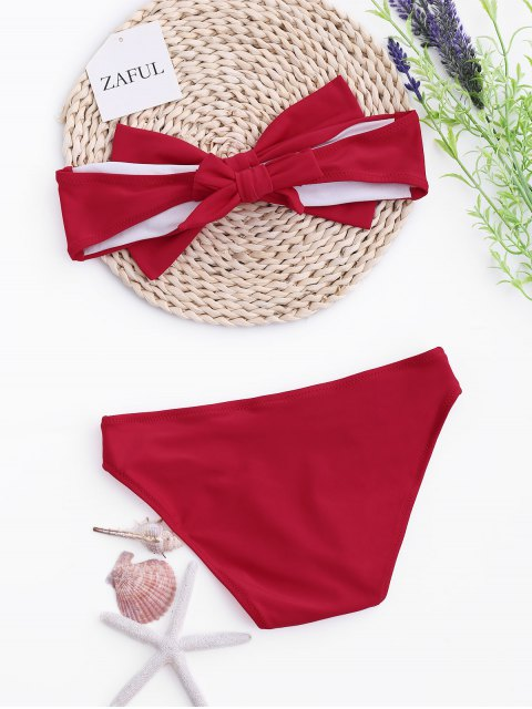 fashion Kids Bow Bandeau Bikini Set - RED 7T Mobile