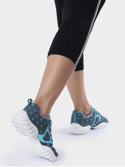 women's Breathable Mesh Geometric Pattern Athletic Shoes - BLUE 39 Mobile