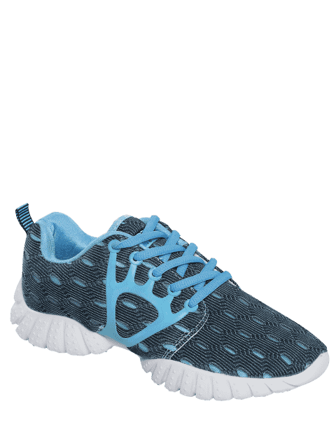 lady Breathable Mesh Geometric Pattern Athletic Shoes - BLUE 37 Mobile