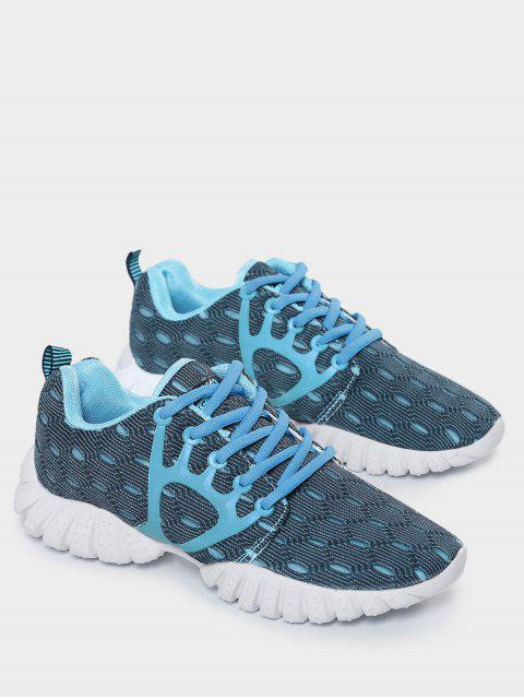 best Breathable Mesh Geometric Pattern Athletic Shoes - BLUE 38 Mobile