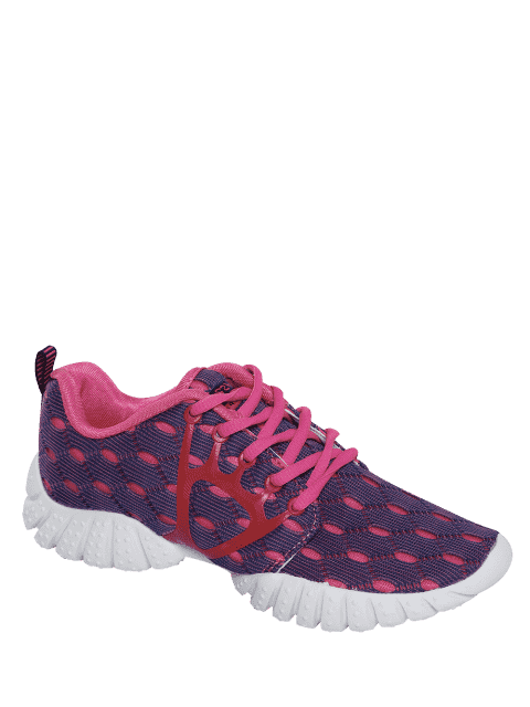 new Breathable Mesh Geometric Pattern Athletic Shoes - PURPLE 40 Mobile