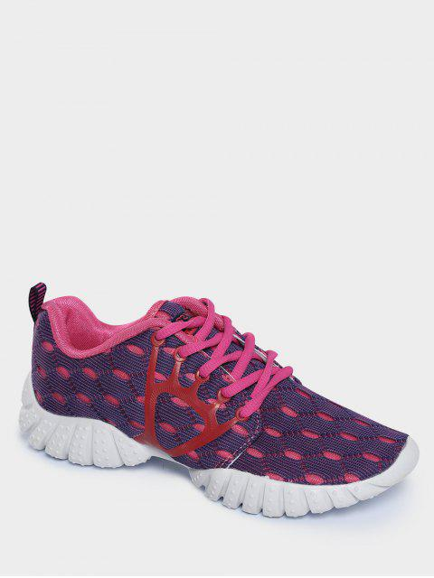hot Breathable Mesh Geometric Pattern Athletic Shoes - PURPLE 37 Mobile