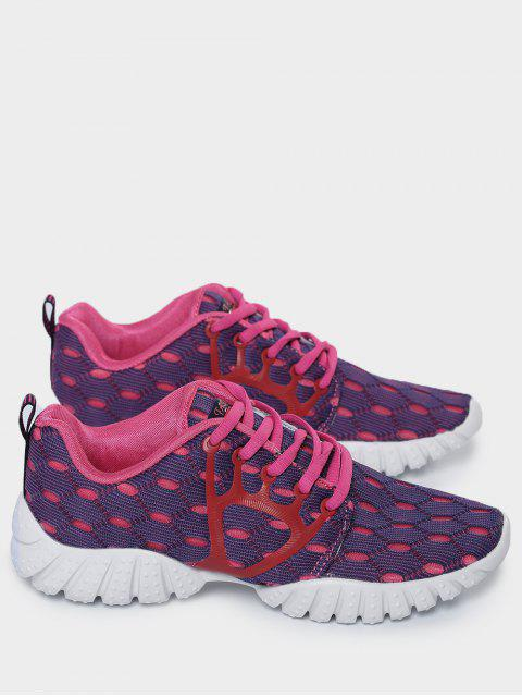 outfit Breathable Mesh Geometric Pattern Athletic Shoes - PURPLE 38 Mobile