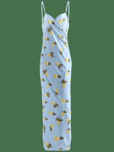 buy Plus Size Cover Up Wrap Dress - LIGHT BLUE XL Mobile