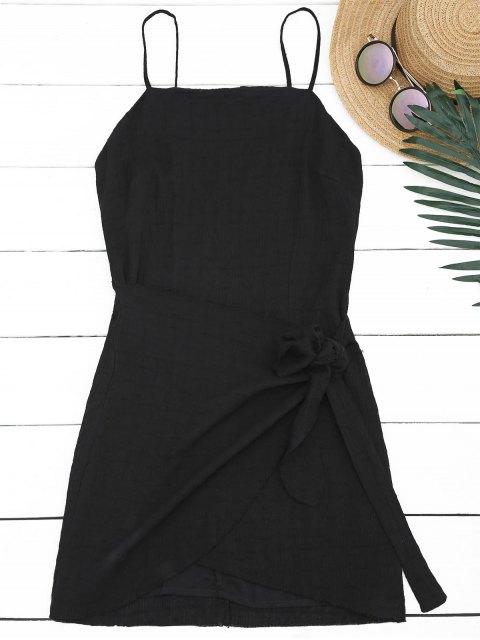 chic Slit Knotted Mini Slip Dress - BLACK L Mobile
