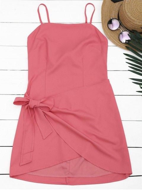 buy Cut Out Bowknot Mini Slip Dress - WATERMELON RED L Mobile
