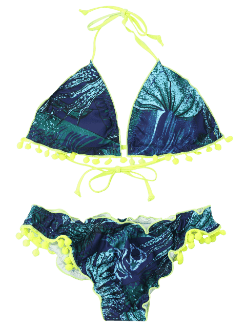 chic Neon Pom Pom Printed Padded Bikini Set - BLUE AND GREEN L Mobile
