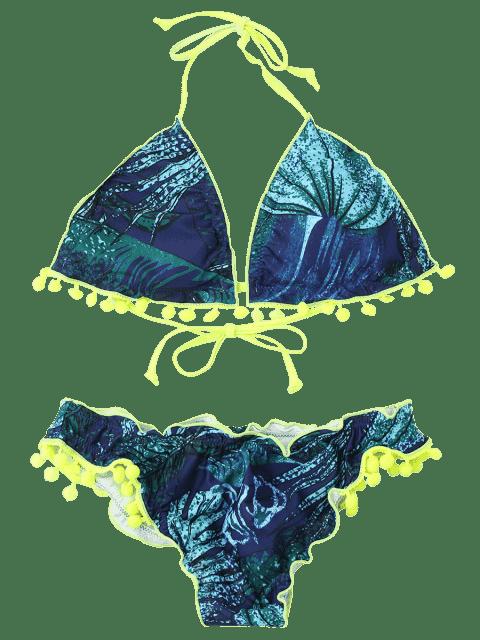 fancy Neon Pom Pom Printed Padded Bikini Set - BLUE AND GREEN M Mobile