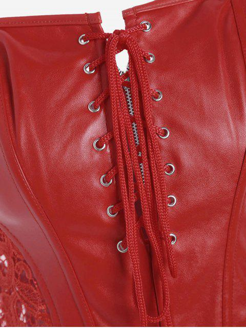 outfit Overbust Faux Leather Corset With Thong - RED XL Mobile