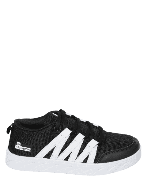 trendy Breathable Tie Up Mesh Skate Shoes - BLACK 41 Mobile