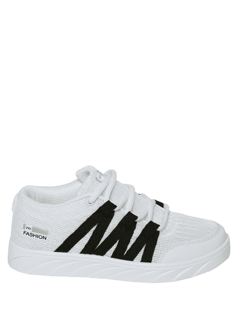 buy Breathable Tie Up Mesh Skate Shoes - WHITE 39 Mobile