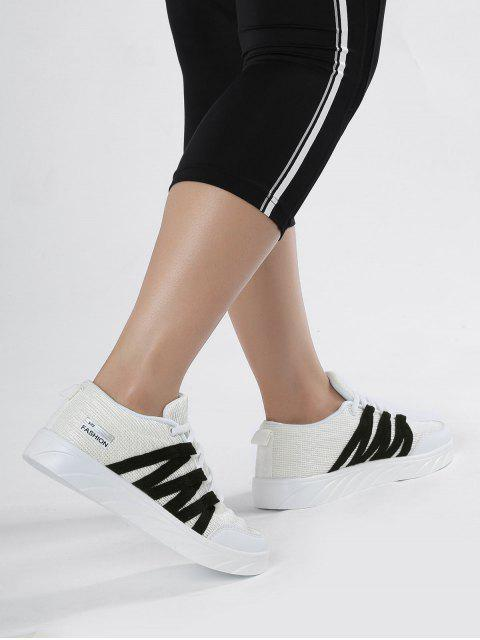 womens Breathable Tie Up Mesh Skate Shoes - WHITE 40 Mobile