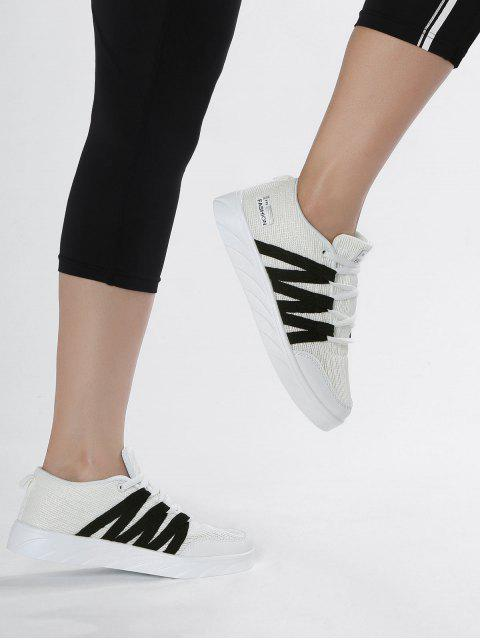 women Breathable Tie Up Mesh Skate Shoes - WHITE 37 Mobile