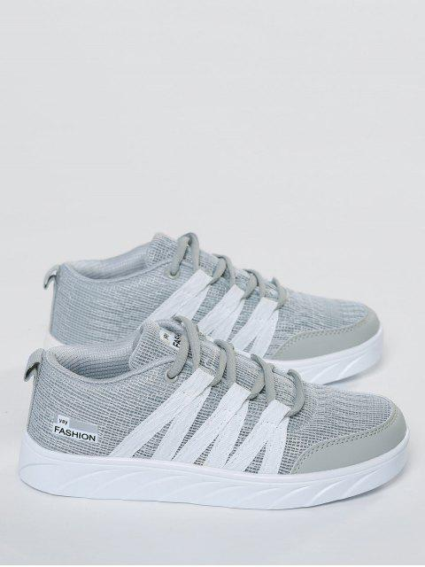 fancy Breathable Tie Up Mesh Skate Shoes - GRAY 40 Mobile