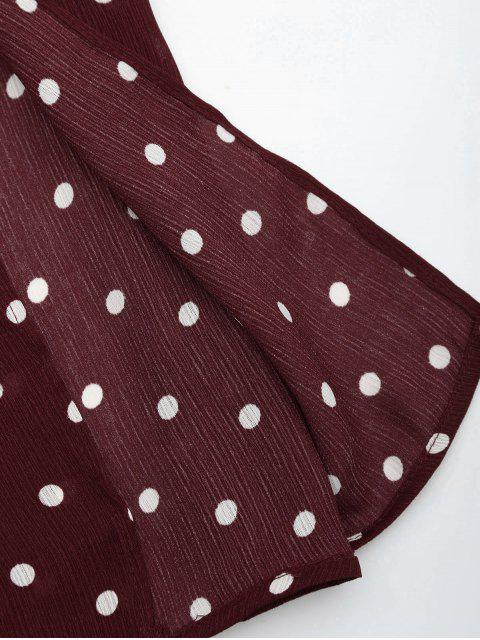 women's Polka Dot Off Shoulder Cropped Top and Maxi Skirt - WINE RED L Mobile
