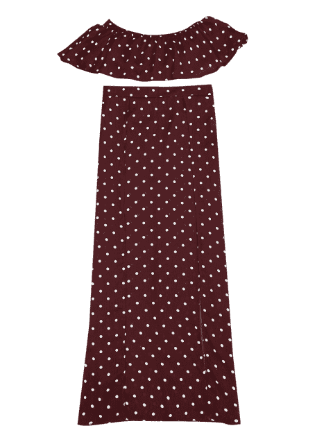 lady Polka Dot Off Shoulder Cropped Top and Maxi Skirt - WINE RED S Mobile