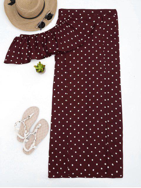 Polka Dot Off Shoulder Cropped Top et Maxi Jupe - Rouge vineux  S Mobile