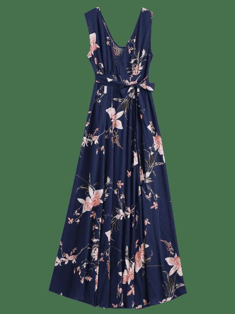 Maxi robe surplise florale cache coeur à fente haut - Bleu Violet S Mobile
