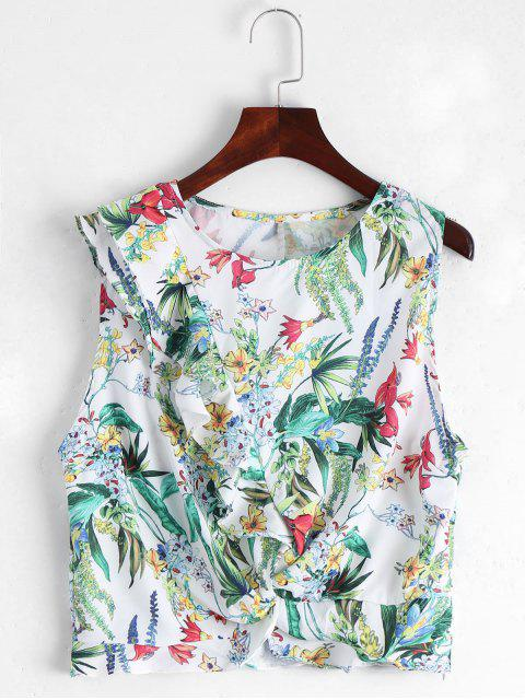 womens Sleeveless Floral Ruffles Top - WHITE M Mobile