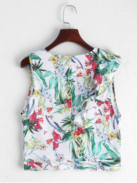 women Sleeveless Floral Ruffles Top - WHITE L Mobile