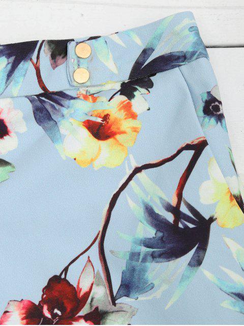 Shorts floraux à haute taille avec boutons - Floral L Mobile