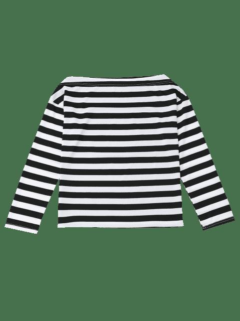 women Off The Shoulder Striped Drop Shoulder Tee - BLACK XL Mobile
