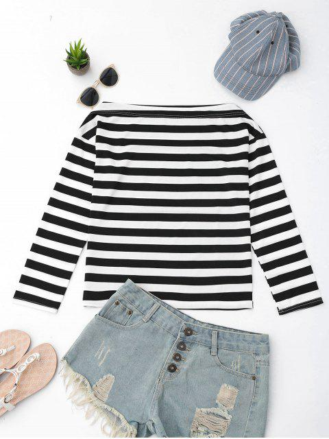 lady Off The Shoulder Striped Drop Shoulder Tee - BLACK S Mobile