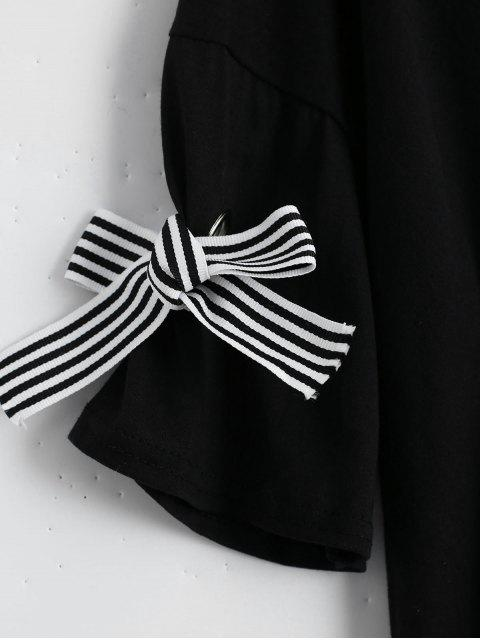 T-shirt imprimé à lettre d'épaule - Noir TAILLE MOYENNE Mobile